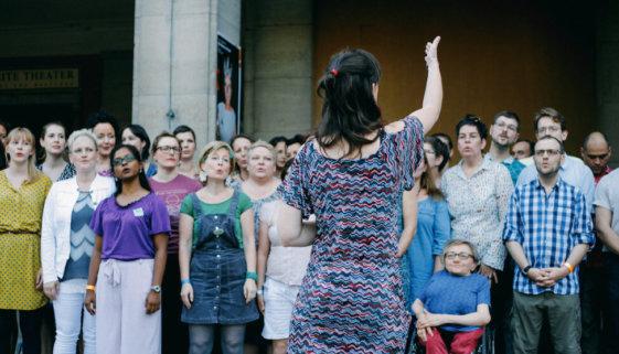 Chor, Singalong, Flashmob, lashmob-Singalong-Aktion, Lustgarten, Berlin