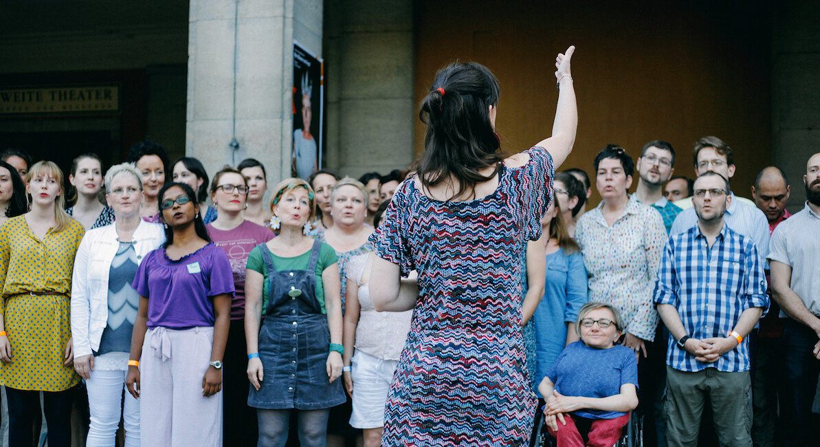 Chor, Singalong, Flashmob, lashmob-Singalong-Aktion, Lustgarten, Berlin